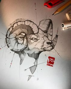 Psdelux is a pencil sketch artist based in Tatabánya, Hungary. He usually draws animal sketches. Psdelux also makes digital drawings. Animal Sketches, Animal Drawings, Drawing Sketches, Cool Drawings, Widder Tattoos, Ram Tattoo, Art Sketchbook, Art Reference, Cool Art