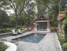simple rectangular pool Perfect layout for our yard. The pool would beed to be a but larger. Imagine a small outdoor kitchen in the sitting area.