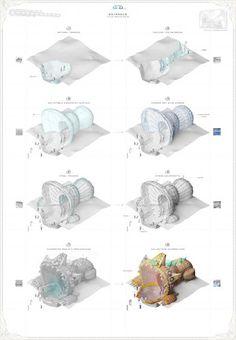 AA School of Architecture 2015 - Yah-chuen-shen Paper Architecture, Architecture Visualization, Architecture Drawings, Architecture Details, Data Visualization, Landscape Architecture, Axonometric View, Aa School, Map Diagram