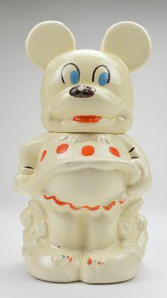 Walt Disney Mickey & Minnie Mouse Vintage Hand Painted Turnabout Cookie Jar