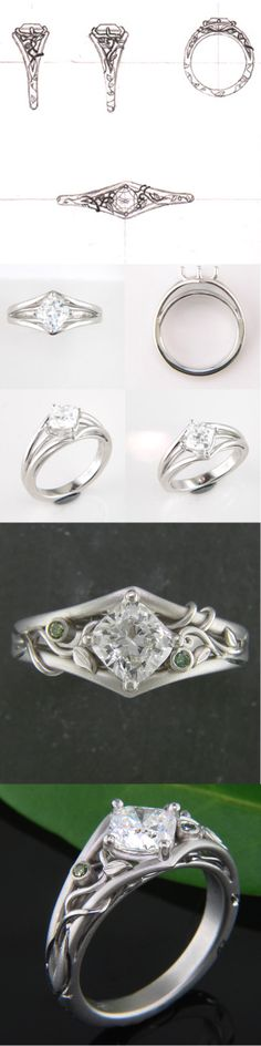 Platinum Leaf & Vine Ring with Green Diamonds and Kite-Shaped Center Setting  #greenlakejewelry