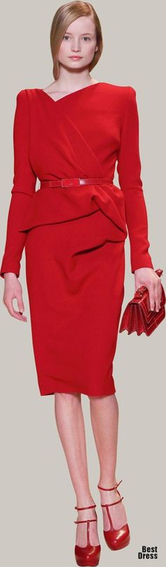 Office attire Elie Saab - red dress to work won't heart anybody.