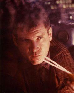 Harrison Ford as Rick Deckard in Blade Runner Harrison Ford, Roy Batty, Rick Deckard, Sean Young, Ridley Scott, Blade Runner, Science Fiction, Novels, Film