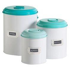RetroKitchen Storage Tins, Turquoise (Set of 3)
