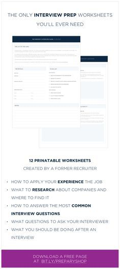 These Interview Prep Worksheets Will Guide You Through Preparing For Your  Next Job Interview! Written