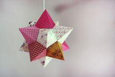 DIY paper star with template. Tutorial in Dutch from Wat maakt Suzette nu.