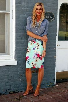Floral Cassie with a chambray shirt