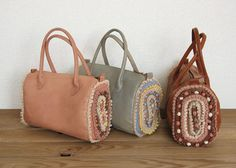 crochet and leather bag