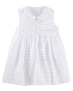 Baby Girl 2-Piece Pleated Peter Pan Collar Dress - 12 or 18 months