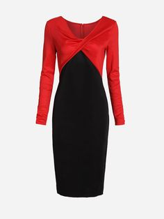 #AdoreWe #FashionMia Bodycon Dresses - FashionMia V Neck Split Color Block Bodycon Dress - AdoreWe.com