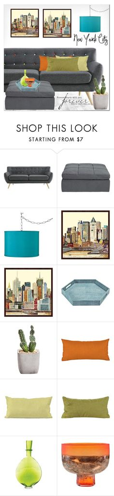 """NYC Forever"" by ansev ❤ liked on Polyvore featuring interior, interiors, interior design, home, home decor, interior decorating, Regina Andrew Design, contemporary and lampsplus"