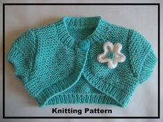 PDF INSTANTDOWNLOAD Knitting pattern for a baby girls bolero/short sleeved/cardigan to knit in 5 sizes, 0-3, 3-6, 6-12 mths, 1-2 & 3-4 years