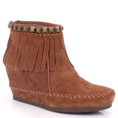 Ash Squaw Dark Tan Suede Wedge Moccasin Boot