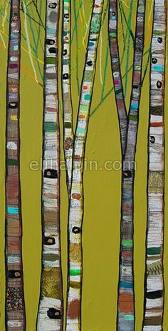 Eli Halpin - Tall Birch Trees in Gloss Olive Green