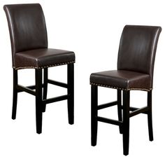 Noble House Pico Brown Bonded Leather Bar Stool (Set of