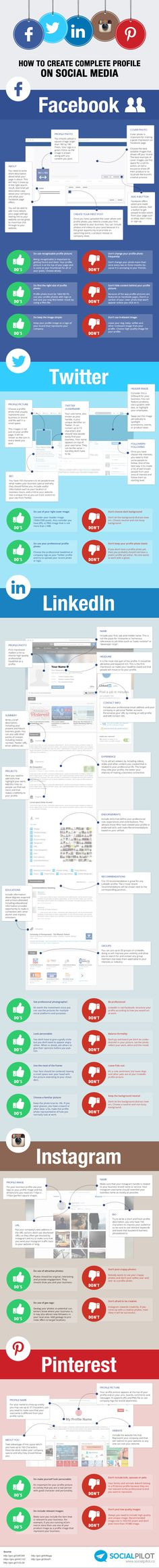 How To Create Complete Profile On Social Media - #Infographic