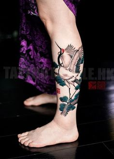 Crane calf tatoo - 110 Lovely Bird Tattoo Designs <3 <3