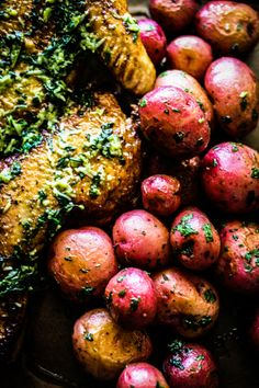 Roasted Chicken with Pesto and Roasted Potatoes.