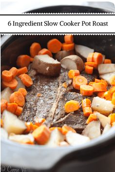 I've been making this 6 ingredient slow cooker pot roast in the slow cooker every Sunday and my whole family loves it!