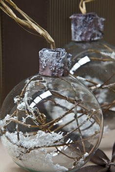 Papaya Christmas Decorations - Twigs and Snow in Glass Bauble