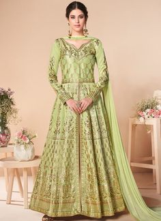 Get Lovely Green Color Fancy Fabric Designer Anarkali Suit latest designer party wear salwar suits, wedding wear Anarkali dress for women at VJV Fashions. Silk Anarkali Suits, Silk Lehenga, Anarkali Dress, Salwar Suits, Silk Dupatta, Green Gown, Green Satin, Green Silk, Floor Length Anarkali