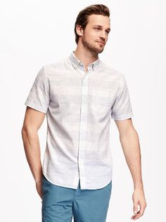Striped Slim-Fit Linen-Blend Shirt for Men in a Flurry.
