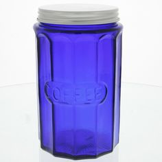 Coffee Canister Depression Style Glass Blue