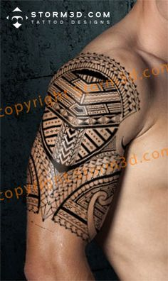 high detail samoan sleeve tattoos pattern