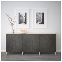 BESTÅ Storage combination with doors - black-brown Kallviken, dark gray concrete effect. Shop here - IKEA At Home Furniture Store, Modern Home Furniture, Home Interior, Interior Design, Frame Shelf, Minimalist Decor, Minimalist Kitchen, Minimalist Interior, Minimalist Living