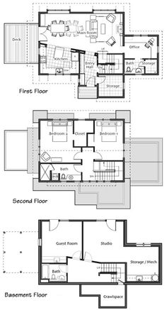 Small Homes by Ross Chapin Architects Morgan Hill 2398 sq ft I'd modify the top floor to make Bedroom 1 a loft, make the second bedroom closet to include bedroom 1's closet, and make it a master suite and craft area!