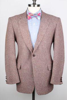Rustic Brown Red Mens Tweed Jacket  Sears Weave by ThePlaidBowTie