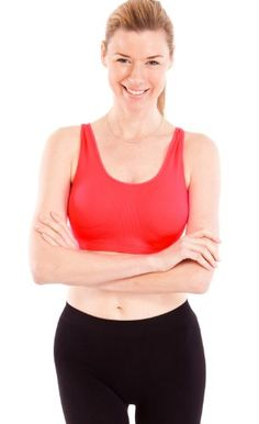 Red Ladies Thick Strap Ribbed Padded Sports Bra -- Click the image to view the details