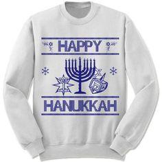 """Happy Hanukkah"" Sweater Unisex fleece crewneck sweatshirt. - Double-needle stitched neckline and armholes - Rib waistband and cuffs S M L XL XXL XXXL Across Shoulders 19.5"" 21.5"" 23.5"" 25.5"" 27.5"" 29"