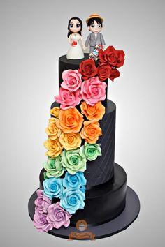 "Rainbow ""One Piece"" Wedding Cake - Cake by The Sweetery - by Diana"