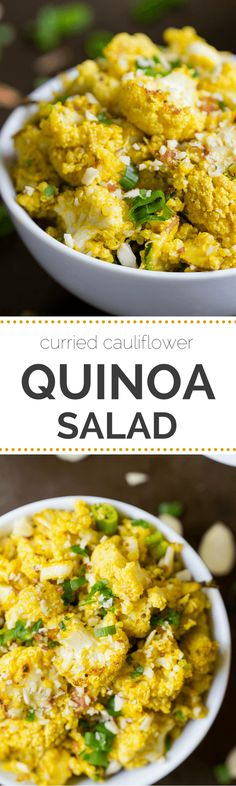 Curried Cauliflower Quinoa Salad -- a quick and healthy side dish with a dreamy tahini-curry dressing | recipe from simplyquinoa.com | gluten-free + vegan