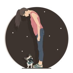 Girl with french bulldog by Dashukrosh on Creative Market