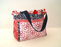 Patriotic Country Tote Bag with Pom-Poms on Etsy, $20.00
