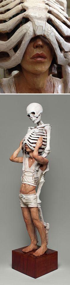 Yoshitoshi Kanemaki, human anatomy paint on Camphor wood sculpture. #skeleton