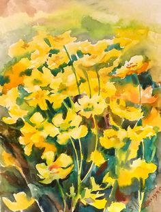 Buttercups original watercolor painting 12 X 9 in by ORIGINALONLY-Suren Nersisyan-etsy