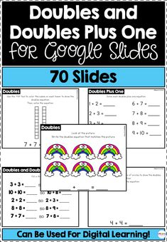 This resource includes 70 slides for doubles and doubles plus one. Students will practice solving and representing doubles and doubles plus one equations. Learning Resources, Teacher Resources, Classroom Resources, Fun Math, Math Activities, Maths, Creative Teaching, Teaching Math, Teaching Ideas