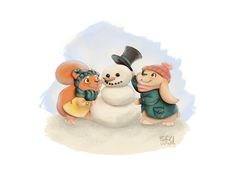 Winter Fun - Squirl and bunny making a snowman Illustration by S.K.Y. van der Wel  at Coroflot.com