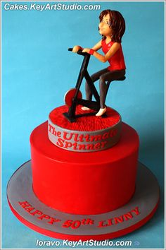 Gym Themed Cake With A Spinning Bike Food In 2019 Gym