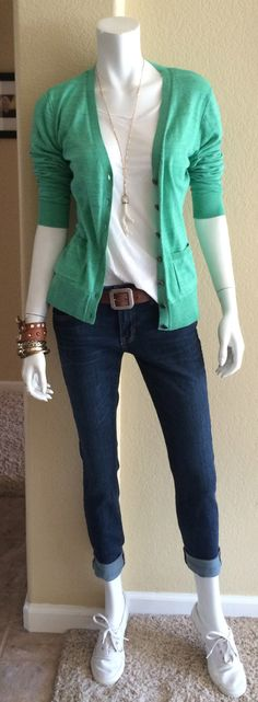 Daily Look: CAbi Fall '14 Comet Wash Boyfriend Jean with spring's Resort Tee and Billi Cardigan in Ocean, my favorite Carrington Belt and Keds.
