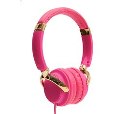 Pink Headphones ($35) ❤ liked on Polyvore featuring accessories, tech accessories, pink earbuds, headphone earbuds, pink headphones, ear bud headphone and earbud headphones