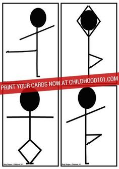 Have a laugh and lots of fun trying to twist your body into these crazy body shapes. 12 printable picture cards from http://childhood101.com
