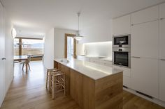White and wood modern open kitchen