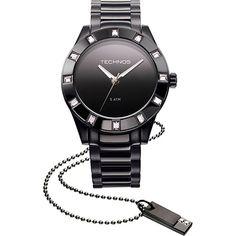 c3a98a49f6131 Relógio Technos Feminino Social Preto 2035FFJ 1P Relógio Feminino Preto