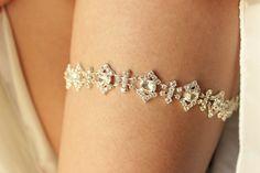 Silver Diamond Wedding Garter  Rhinestone by BrilliantBride