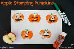 Use half an apple to create jack-o-lanturns in this apple stamping pumpkin craft for toddlers and preschoolers. Toddler Preschool, Toddler Crafts, Fall Crafts, Halloween Crafts, Crafts For Kids, Arts And Crafts, Five Little Pumpkins, Pumpkin Crafts, Sensory Play