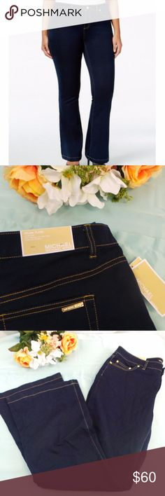 MK 16W $135 Selma Flare-Leg Jean Twilight Wash NWT Brand: Michael Kors  Size: 16W Color: Twilight wash Condition: New with tags Product Details:  Size Type: Plus Bottoms Size (Women's): 16W Style: Flare Wash: Dark Material: Cotton Blends   80% Cotton 18% Polyester  2% Elastane  190049880753 J16 Michael Kors Jeans Flare & Wide Leg